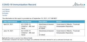 AB COVID-19 immunization record sample